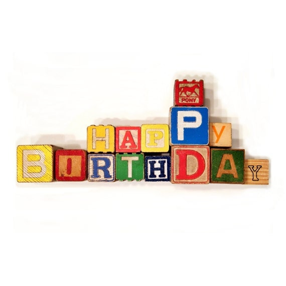 Block Letter Set - HAPPY BIRTHDAY in Recycled Alphabet Blocks - Theme Party Favors - Storybook - Retro - Circus Animals - Nautical