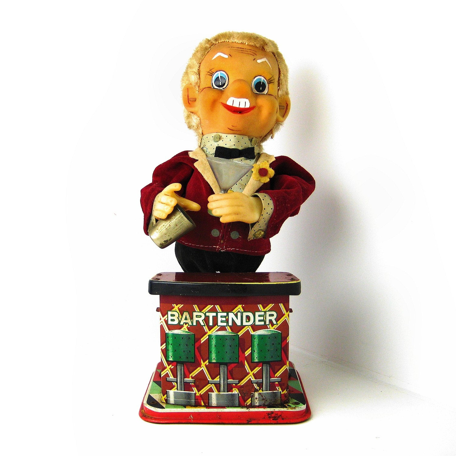 Creepy Japanese Toy : Vintage tin toy disturbing bartender doll creepy white
