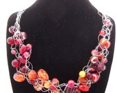 SALE 10% OFF - Tutti Fruitti - Crocheted Wire Necklace and Earring Set