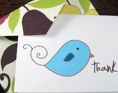 Sweet Birdie -- Folded Mini Cards with Handmade Envelopes -- Set of 10