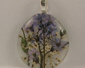 CLEARANCE Sale.  It's Almost Spring.... Forget  Me Not Pendant/Necklace. Real  Dried pressed flowers behind glass.