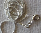 20  inch 1mm  Sterling Silver Plated Snake Chain. Bulk sales welcome.  Necklace.