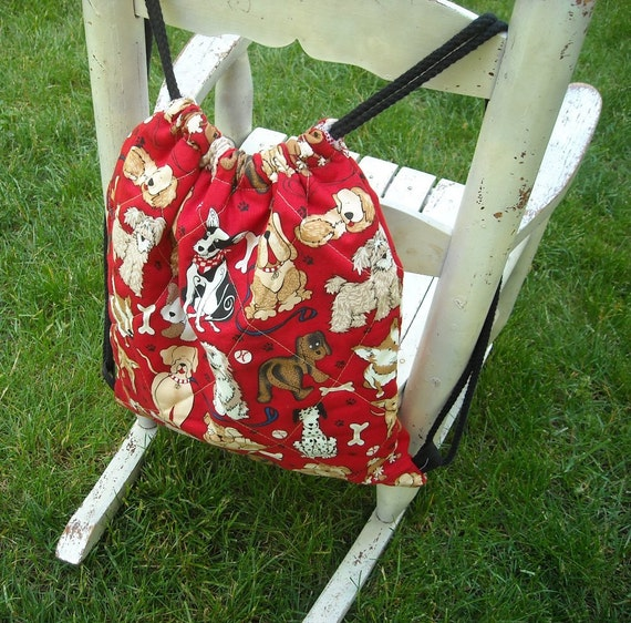 Cute Quilted Doggy Bag Backpack for Toddler Drawstring Closure