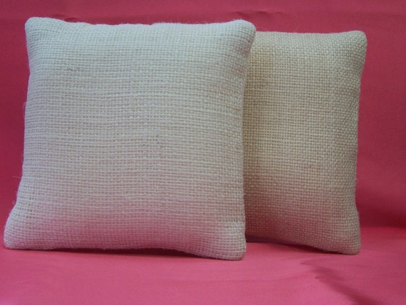 Natural Burlap Custom Designer ring bearer pillow Tan White Ivory Plain basic DIY Project