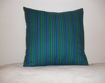 Dark Turquoise Striped Pillow Covers - Set of 2