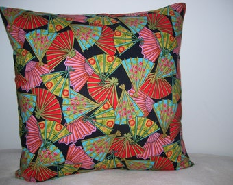 Colorful Fans Throw Pillow Covers - Set of 2