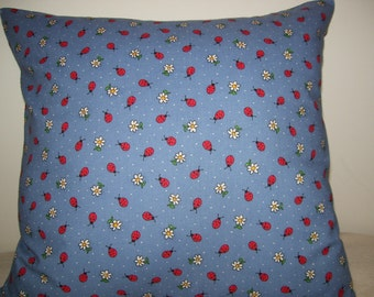 Lady Bugs and Daisies Throw Pillow Covers - Set of 2