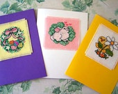 Cross Stitch Blank Cards, Spring Themed Cards, Easter Cards, Handstitched Cards Greeting Cards Set of 3 Easter Egg Wreath, Bunny, Baby Chick