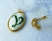"""Personalized Jewelry, Organza Double Cord Necklace, Embroidered Pendant, Letter """"V"""", Needlework Necklace, Green Ready to Ship"""