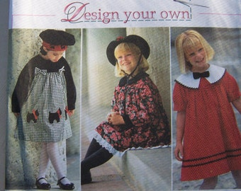 SALE Simplicity 9777  Girl's Sewing Pattern, Toddler Full Skirt Dress with 9 Variations, Scottie Dog Dress, Party Dress, CUT to Size 4