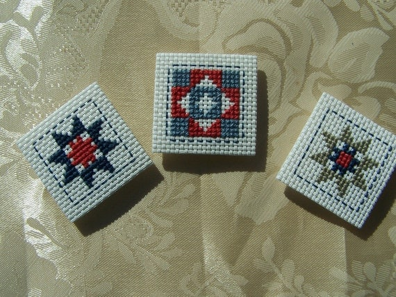 CLEARANCE Cross Stitch Magnets, Quilt Squares, Set of 3, Fridge Magnet, Emboridery