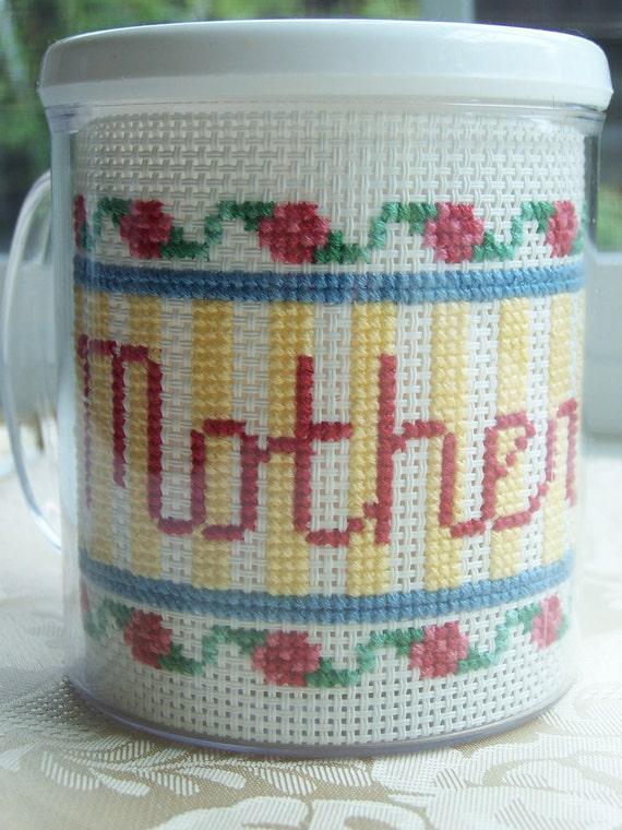 Cross Stitch Mug - MOTHER- Cottage Chic, Floral, Embroidered Mug, Needlework Mug, SALE