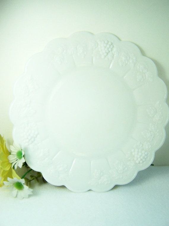 CLEARANCE Westmoreland Milk Glass Plate, Luncheon Plate, Paneled Grape Pattern, Cottage Chic Vintage 50's