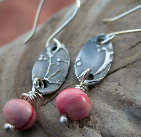 fine silver blossom earrings with coral beads