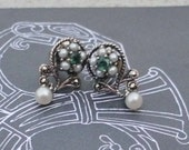 Vintage Silver Pearl Genuine Emerald Marcasite Earrings pierced 70s