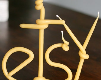 beeswax name candle - custom