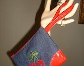 Red Cherries on Denim Wristlet