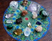 Blue Crystals Mandala Healing Altar Cloth, Crystasl Grid