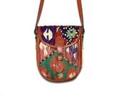 VTG Turkish Kilim Tapestry and Leather Buckle Bag Satchel