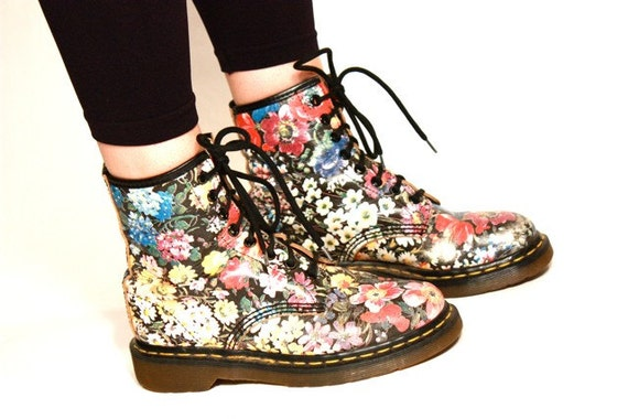 Floral Print Combat Boots
