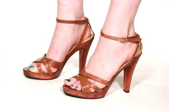 Vtg 70 S Wood Platform Strappy High Heel Clogs Shoes 8