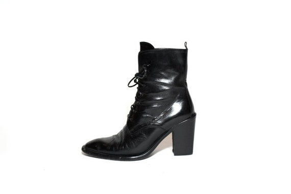 VTG 80's Italian Leather CHUNK Heel Lace Up Granny Ankle Boots 8