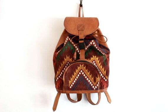 VTG Southwestern Blanket and Leather Backpack