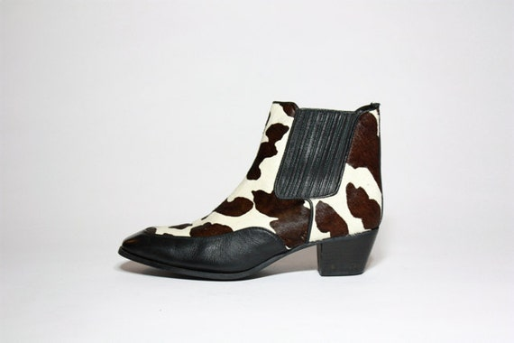 VTG 80's Two Tone Pony Hair Chelsea Riding Ankle Boots 9