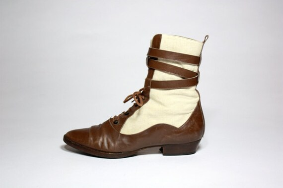 VTG 80's Italian Leather and Canvas  Lace Up Ankle Boots 7