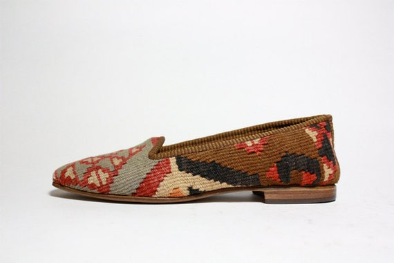 VTG Woven Tapestry KILIM Slip On Loafers 8