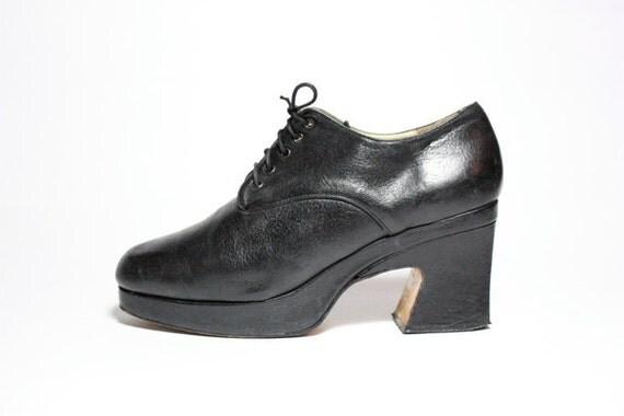 Vtg 80's Black Leather Platform Lace Up Oxfords 10