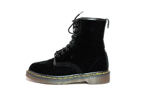 Vintage Doc Dr Martens Black Velvet Combat Boots 6.5 7