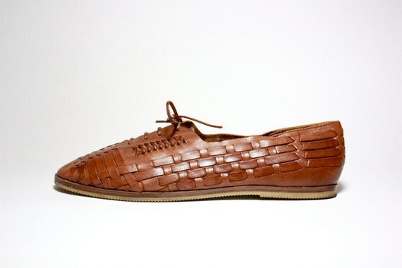 VTG 80's Woven Leather Lace Up Huarache Oxfords 9.5