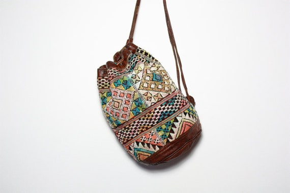 VTG Moroccan Kilim Tapestry and Leather Bucket Rucksack Backpack