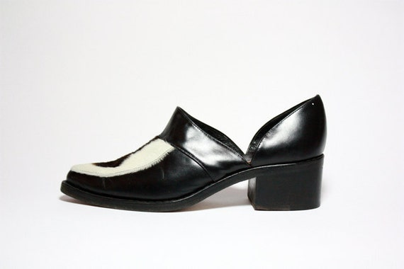 VTG 90's Pony Hair Chunk Heel Cut Out Loafers 7.5