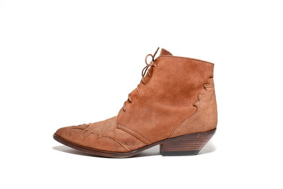 VTG 80's Brown Nubuck Southwest Lace Up Chukka Ankle Boot 10