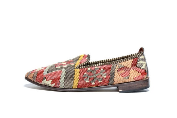 VTG Woven Turkish Kilim Slip On Loafers 7.5