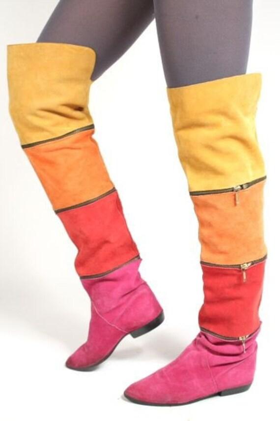 vtg 80 s flat suede multi color zipper thigh high otk