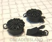 BULK -10% ( B616BP ) 10 Sets / Dia. 12 mm - Black Plated Color Box Round Filigree Clasp