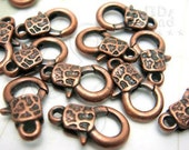 B122BZ / 8Pc / 15x9mm - Antique Copper Plated Textured Lobster Clasp Findings