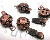 Clearance Sale -50% / B618BZ / 8Sets / Diameter 10mm - Antique Copper Plated 1 Strand Box Filigree Clasp Findings