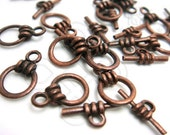 B318BZ / 6 Sets - Antique Copper Basic Toggle Clasp / Rod n Ring Findings