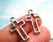 sale -20% / J810NC / 10 Pc / 18 x 10 mm - Cast Metal Wire Frame Cross / Crucifix Charms / Pendant Findings