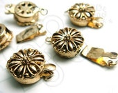 B616GA / 2 sets / 12 x 6 mm - Antique Gold Plated 1 Strand Box Round Filigree Clasp Findings