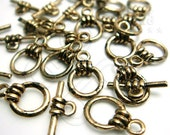 B318GA / 6 Sets - Antique Gold Plated Basic Toggle Clasp / Rod n Ring Findings