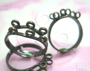 last stock -40% / G110BS / 5Pc / 2Rows x  3-3Loops - Antique Brass Plated Adjustable Finger Rings Findings