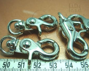 last / Y112RH / 2 Pc / 42 x 16 mm - Rhodium Plated Chunky Triggered Key Chain / Clasp Findings