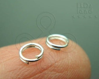 Clearance Sales / C111SP / 12Gm *358Pc / D4mm - Silver Plated Split Rings / Double Rings Findings.