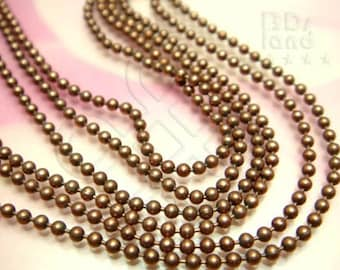 last / bulk -10% / T109BZ / 5meter / Ball Dia. 1.4mm - Antique Copper Plated Ball Chain Findings