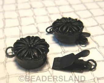 Clearance Sales -50% / B616BP / 8Sets / Diameter 12mm - Black Plated 12mm Boxed Filigree Clasps Findings.